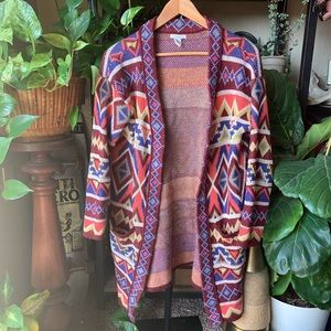 Forever 21 western Aztec long cardigan